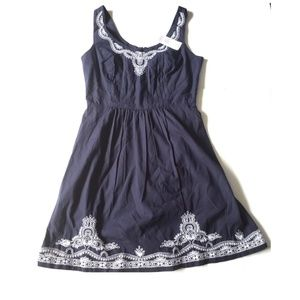 Vineyard Vines Embroidered Blue Fit & Flare Dress
